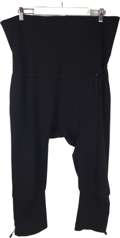 Black Jersey Y-3 Harem Pants Cinched Leg Cropped Pants