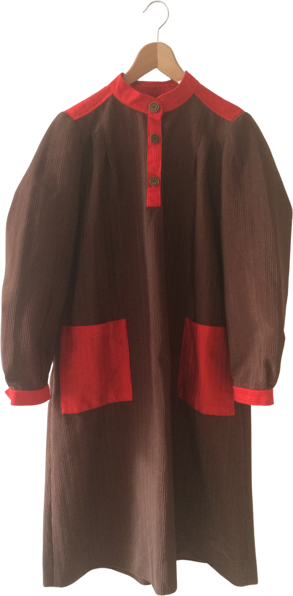 Brown-Red Polyester Mix Vintage Midi Dress Oversized Pocket
