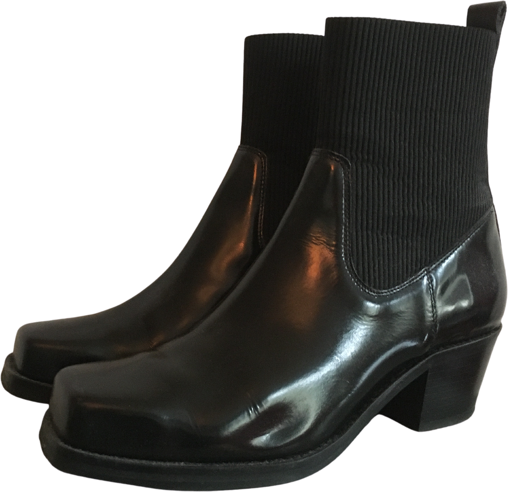 Black Leather Samsoe And Samsoe Ankle Boots Square Toe