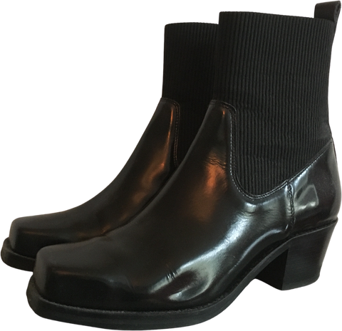 Black Leather Samsoe And Samsoe Ankle Boots Square Toe Size 40
