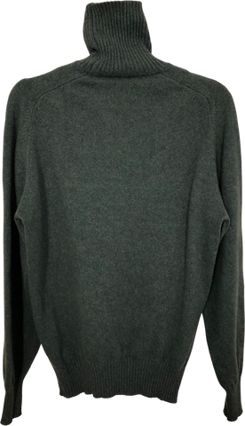 Dark Moss Cashmere Vintage Sweater Turtle Neck Trumpet Sleeve
