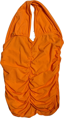 Orange Cotton Mix Vintage Tube Top Gathered Halter Top