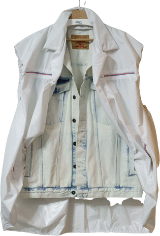 White-Light Blue Cotton Y/project Jeans Jacket Conceptual Detail Layered Size L/XL
