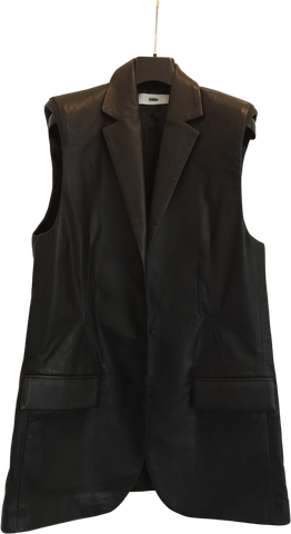 Black Leather 032c Long Vest Elongated Size S/M