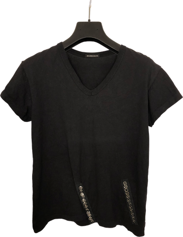 Black Cotton Ann Demeulemeester Top short sleeve Adjustable Feature Conceptual Detail