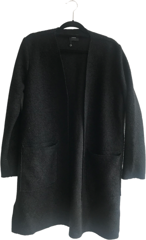 Black Wool / Acrylic Mix Someday Light Coat Oversized Pocket