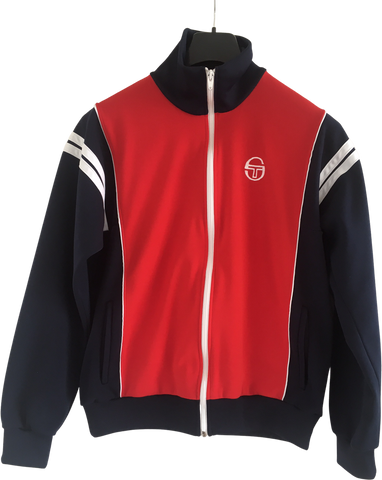Red-Dark Blue Vintage Polyester Sergio Tacchini Zip Jacket