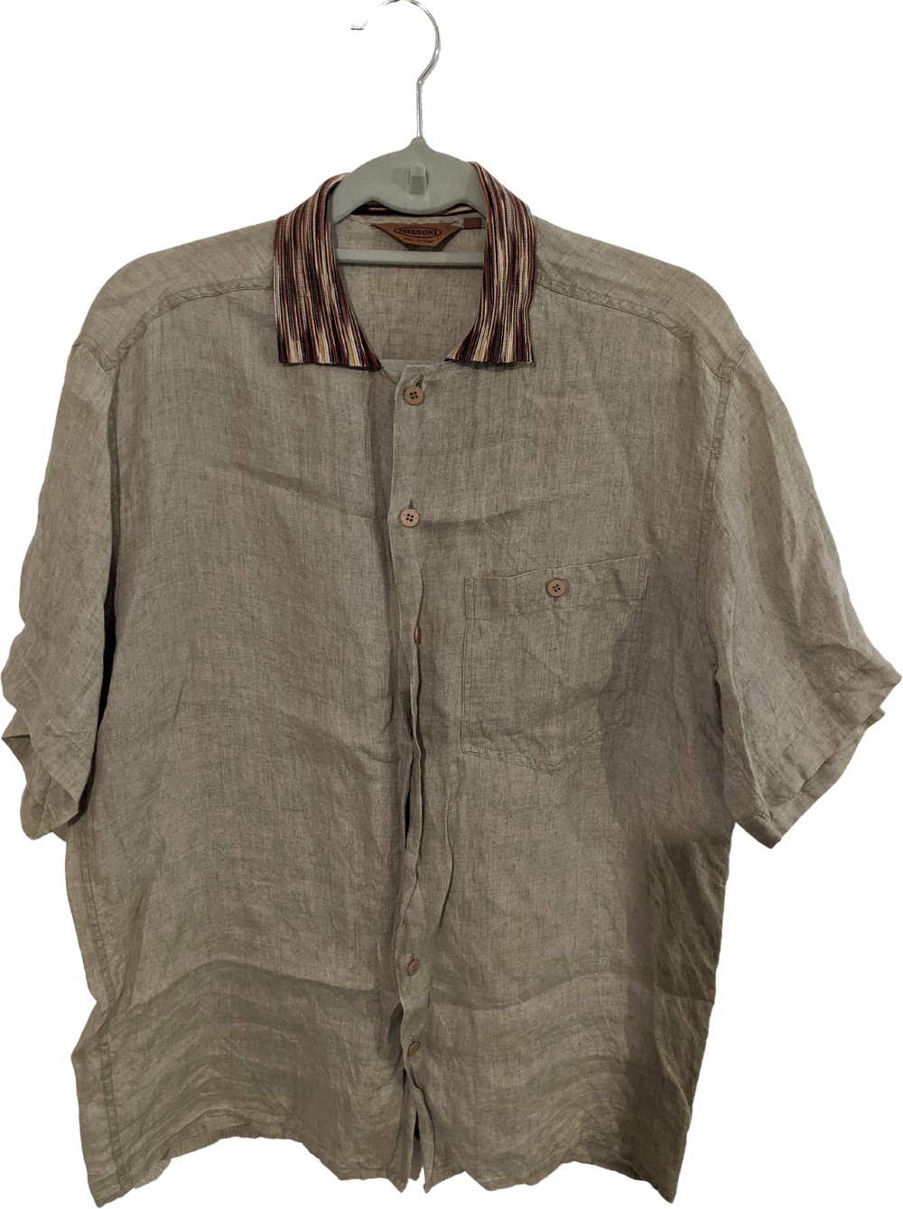 Straw-Burgundy Linen Missoni Shirt short sleeve Collar Detail