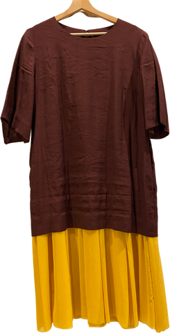 Chocolate-Dandelion Polyester / Rayon COS Maxi Dress