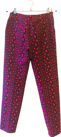 Pink-Ox Blood Polyester Mix Kenzo Straight Fit Pants