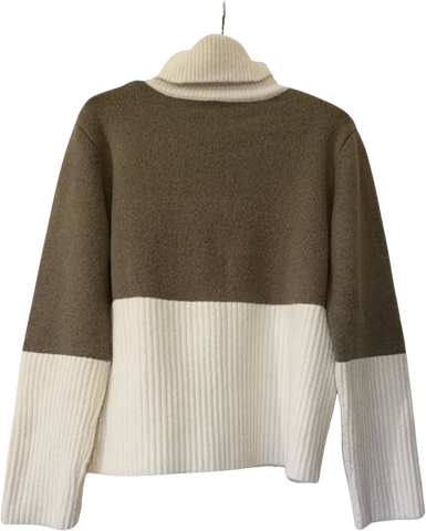 Grey Taupe-White Acrylic Mix Vintage Sweater Turtle Neck Boxy