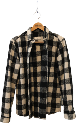 White-Black Wool / Acrylic Mix Ami Flannel Shirt  Size S/M
