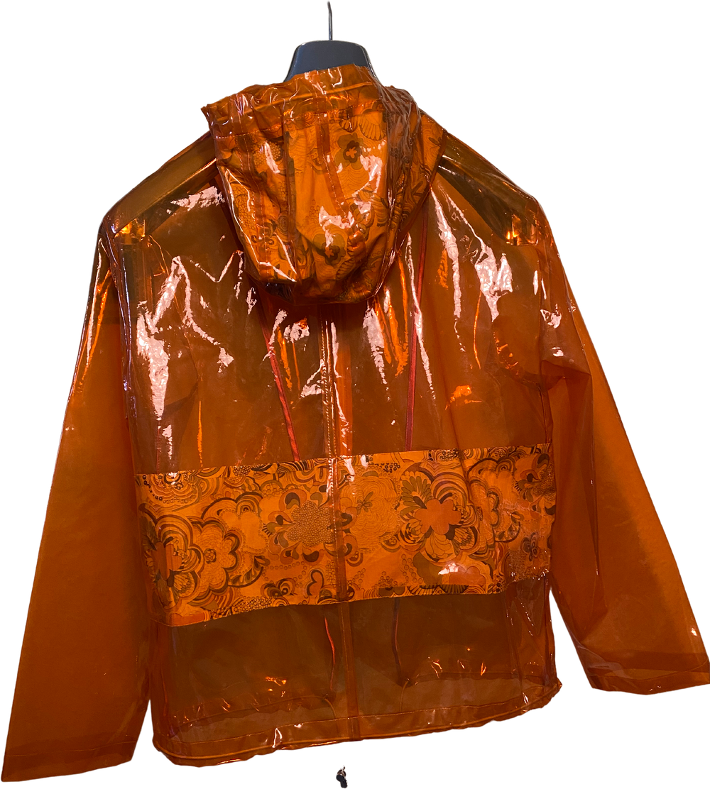 Orange Plastic PRET POUR PARTIR Rain Coat Clear