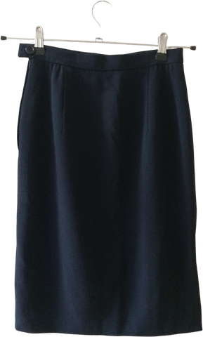 Navy Wool Valentino Midi Skirt