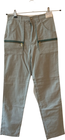 Grey Taupe-Green Cotton Vintage Cargos Pocket Detail