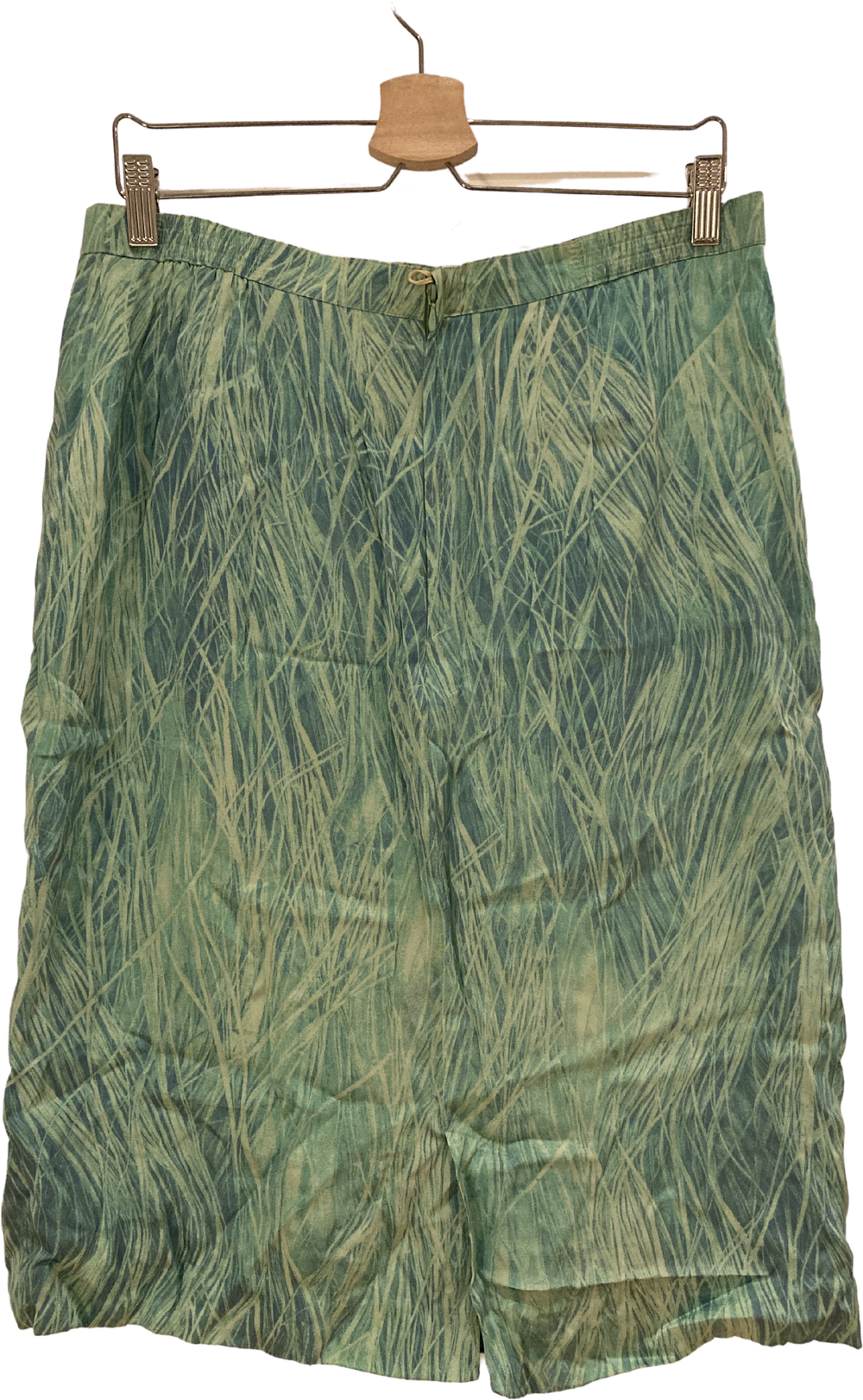 Pea Soup Green Silk Vintage Midi Skirt