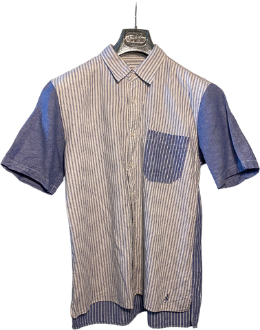 Blue-White Cotton / Linen Mix Uniqlo X J.w. Anderson Shirt short sleeve High Low