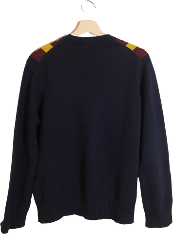 Navy-Burgundy Wool / Polyester Mix Comme Des Garcons - Homme Sweater V-neck