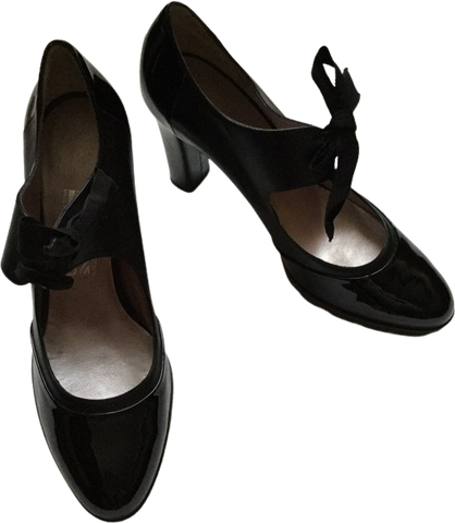 Black Leather Salvatore Ferragamo Mary Janes Bow Detail