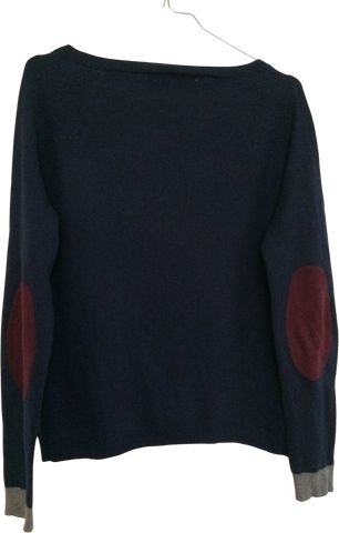 Midnight Blue-Maroon Wool Custom Made Light Sweater Elbow Patch