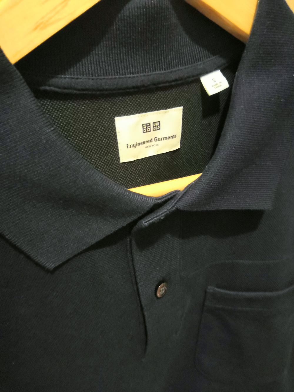 Black-Midnight Blue Cotton / Poly Mix Engineered Garments × Uniqlo Polo Shirt Minimalist Detail