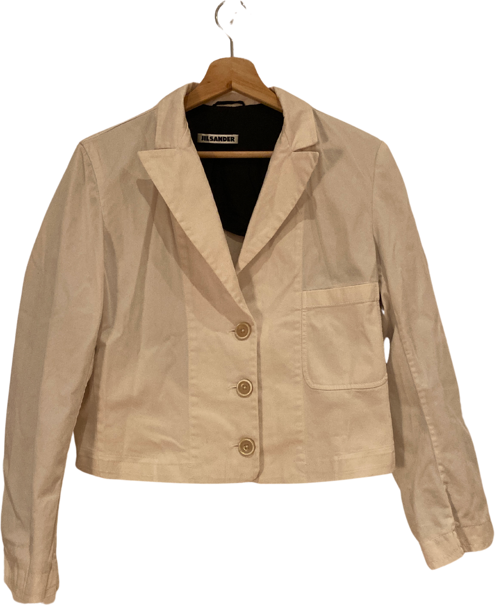 White Cotton Mix Jil Sander Blazer Crop