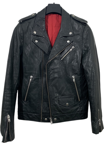 Black Leather Vintage Biker Jacket