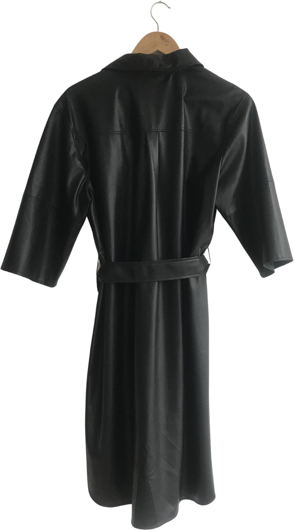 Black Faux Nappa Someday Shirt Dress Flap Tie