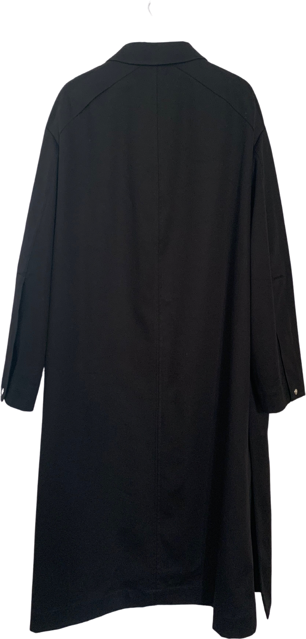Black Cotton Mix Oamc Trench Coat Slit Panel Elongated Size M/L