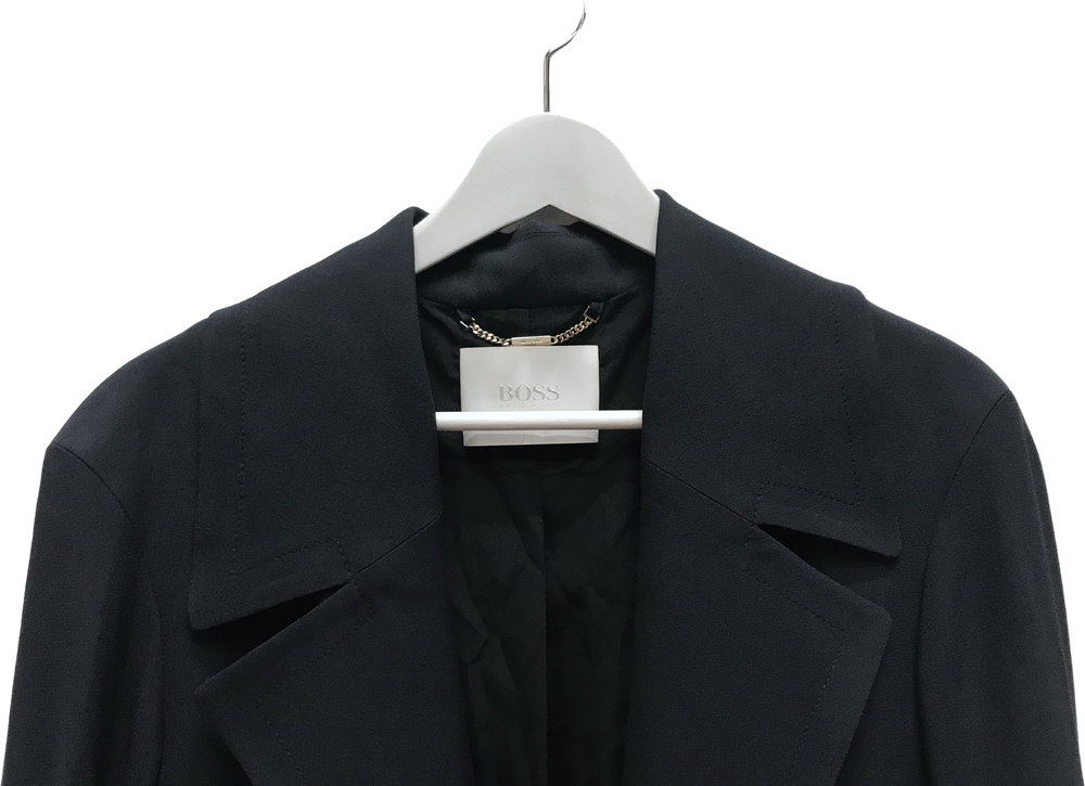 Black Rayon Mix Hugo Boss Coat Panel Size L/XL