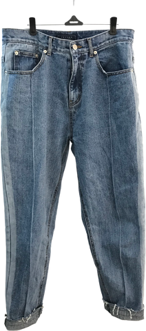 Denim Blue Cotton Beslow Korea Jeans Tapered