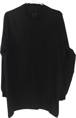 Black Cotton Rick Owens Sweatshirt Elongated