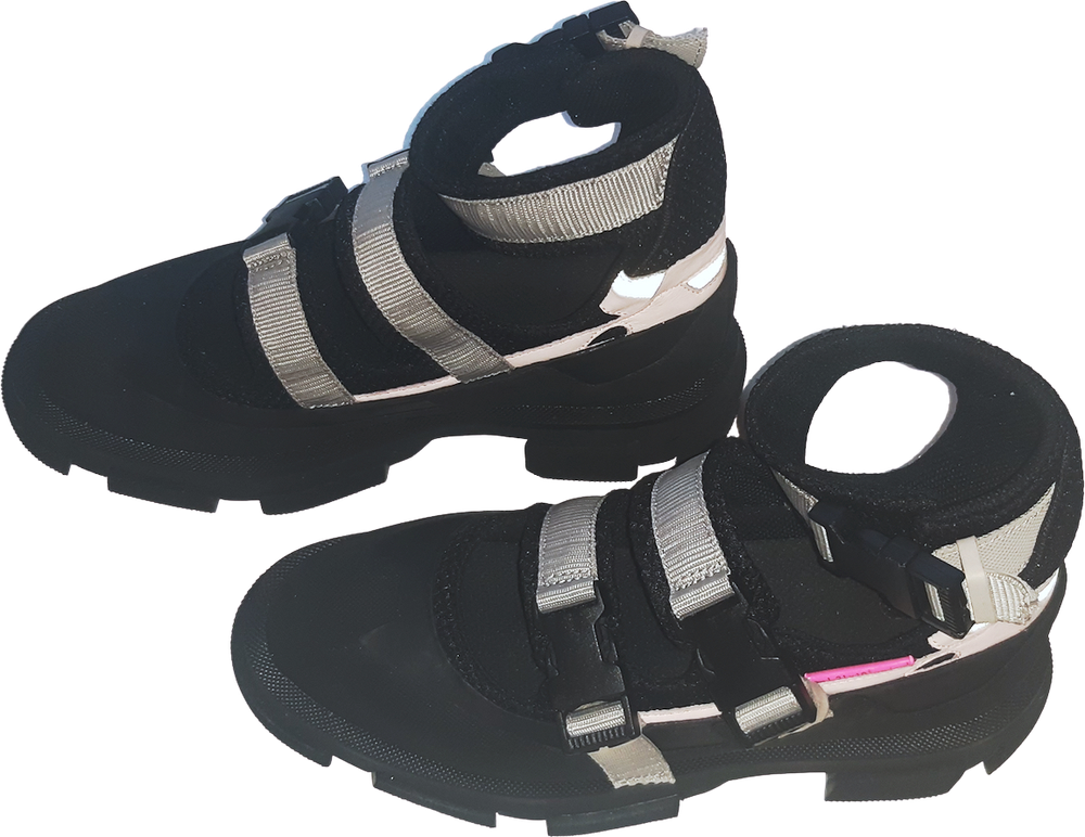 Black-Silver Rubber Both Mary Janes Straps Conceptual Detail