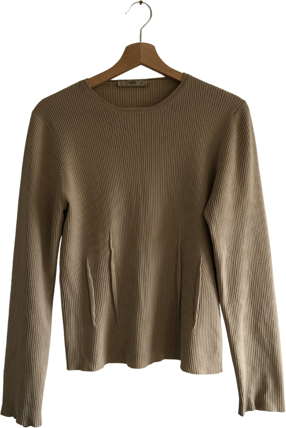 Beige Wool Prada Knit Top