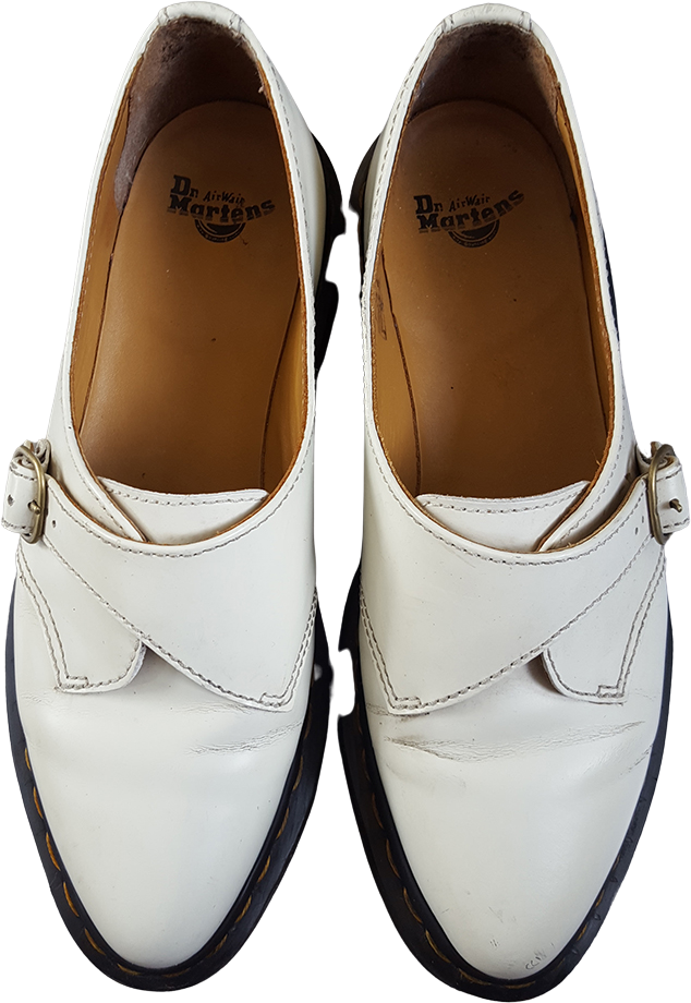 White Leather Dr. Martens Creepers Buckled