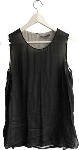 Black Silk Mix Vince Tank Blouse Sheer Layered