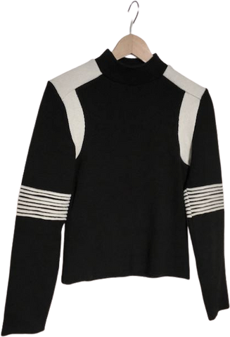 Black-White Wool / Acrylic Mix Kookai Sweater Body-fit