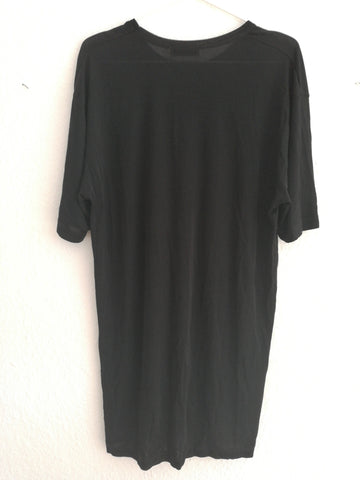 Black Synthetic Vintage Cocoon Dress Drapey Wide Neck Size M/L