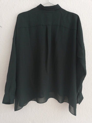 Dark Green Polyester / Rayon COS Shirt Sheer Size XS/S