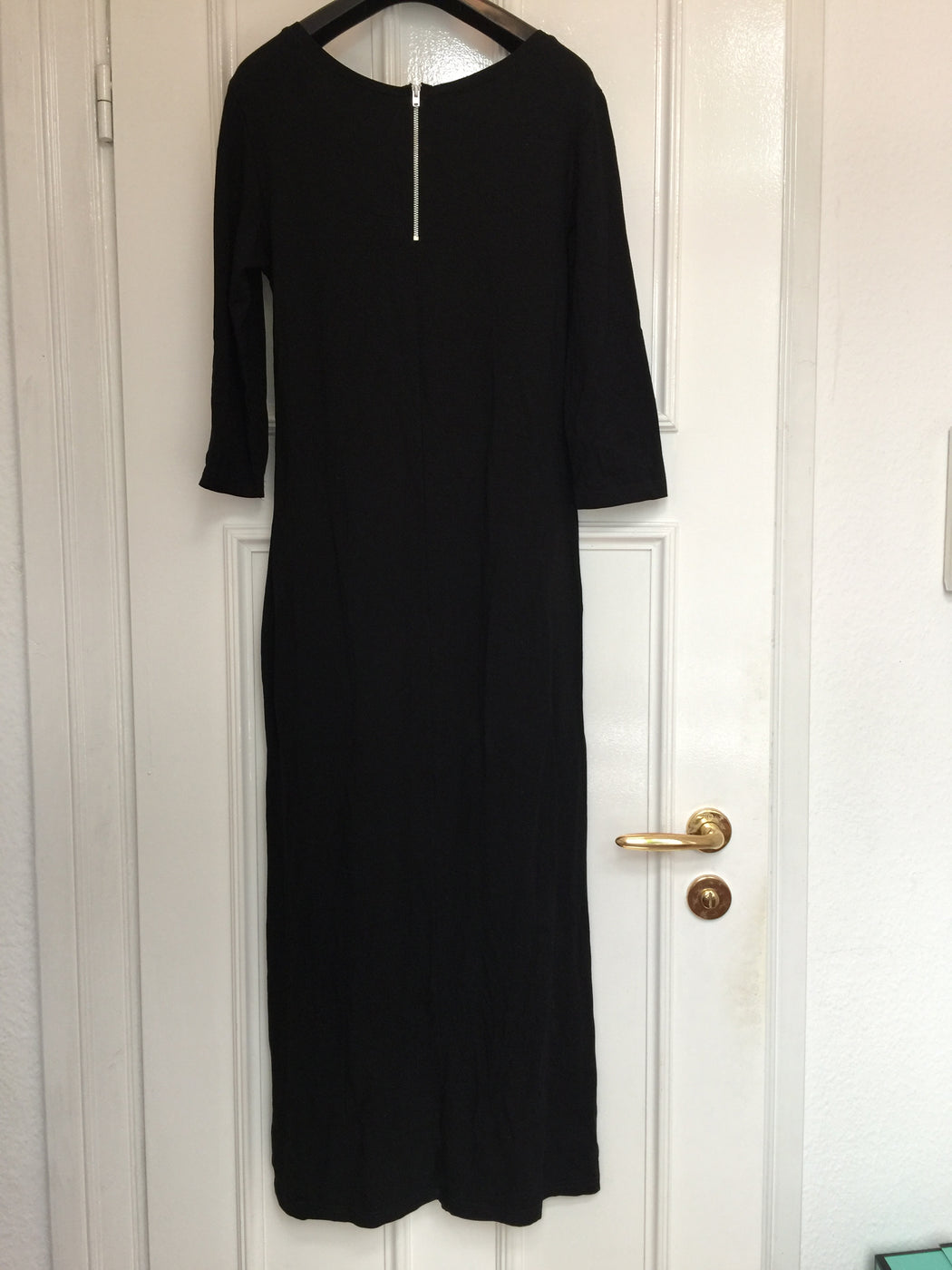 Black Rayon Mix Vintage Jersey Dress Elongated Size S/M