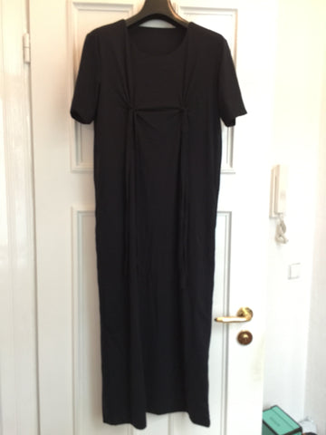 Black Rayon Mix Vintage Jersey Dress Gathered Minimalist Detail Size S/M