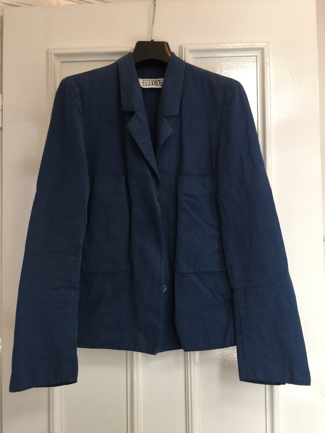 Midnight Blue Cotton / Linen Mix Mm6 Maison Margiela Blazer-jacket Minimalist Detail
