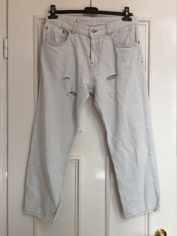Light Blue Cotton Mm6 Maison Margiela Jeans Boxy Size 26/27