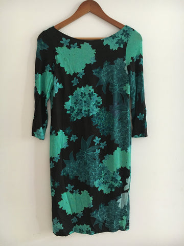 Black-Emerald Polyester / Rayon Vintage Cocktail Dress Open-backed Size S/M
