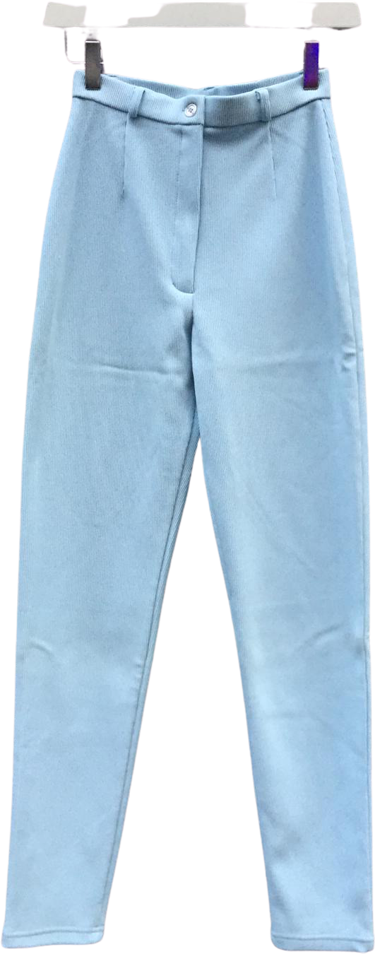 Light Blue Polyester Mix Vintage High Waist Pants