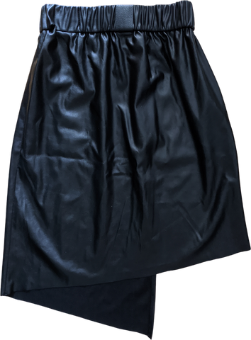 Black Faux Nappa Uy Studio Berlin Midi Skirt Slit Panel Asymetric Size 28/29