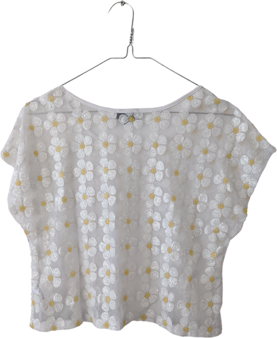 White Polyester Modern Topshop Crop Top Sequened Crop Size M/L