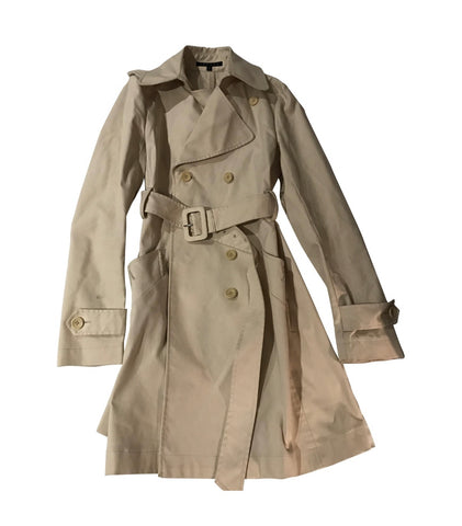 Beige Cotton / Poly Mix Theory Trench Coat Straps Size XS/S