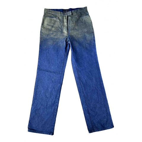 Blue Grey-Royal Blue Cotton Fendi High Waist Jeans Conceptual Detail