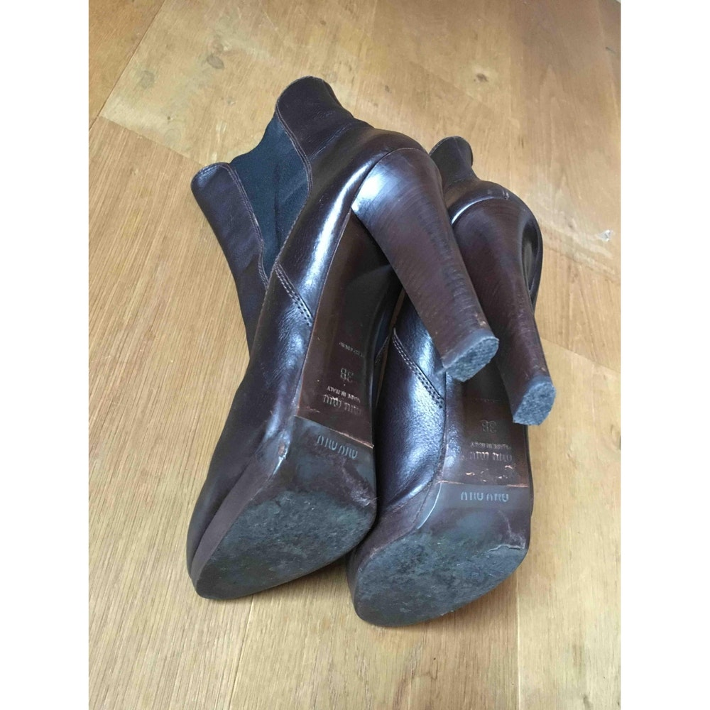 Chocolate Leather Miu Miu Ankle Boot Heels  Size 38